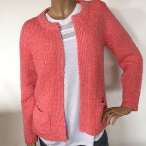 Yarnworks Nubby Salmon Pink Sweater Cardigan M